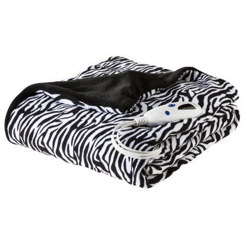 Biddeford Heated Microplush Throw, 50 By 62-Inch, Zebra