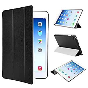 EasyAcc Ultra Slim Apple new ipad mini 3 / iPad mini Retina Display / iPad mini Protector Smart Case Back Cover with Stand / Auto Sleep Wake-up for iPad mini / iPad mini Retina / ipad mini 3 (2014) -- Top Premium PU Leather, Folded Cover Design, Black
