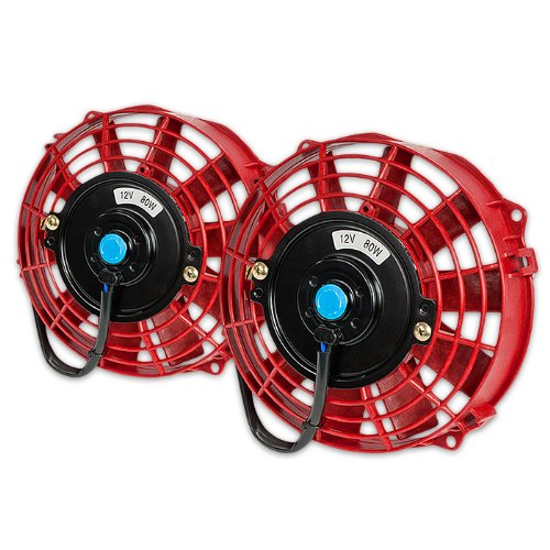 Dpt, Dpt-Raf-7-Rd+Fmk-X2, Two 7 Inches Ten Blades Red Electric Radiator Cooling Slim Fans 3 Inches Thickness With Mounting Kit