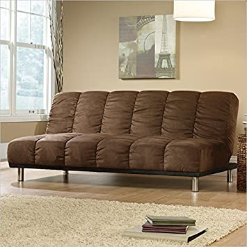 Sauder Deshler Convertible Sofa in Coffee