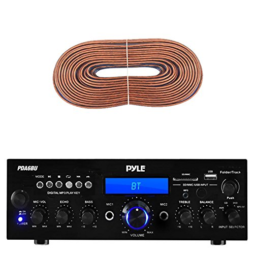 Pyle PDA6BU Amplifier Receiver Stereo, Bluetooth, AM/FM Radio, USB Flash Reader, Aux input (3.5mm) LCD Display, 200 Watt - Bundle With Enrock 50ft 16g Speaker Wire (Usb Room Accesories compare prices)