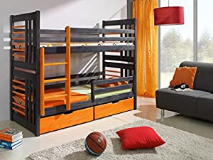 ROLAND Children Bunk Bed - Pine Wood - 24 Colours - 2 Sizes - 4 Types of Mattresses
