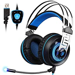 GW SADES A7 7.1 Virtual Surround Sound Wired USB Over Ear Gaming Headset Headphones with Mic Noise Cancelling LED Light for PC/ Mac/Laptop(Black/Blue)