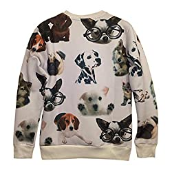 Demarkt Women Mens Sweatshirt Top Long Sleeves Dog in Glasses Print Blouse Pullover Hoodies