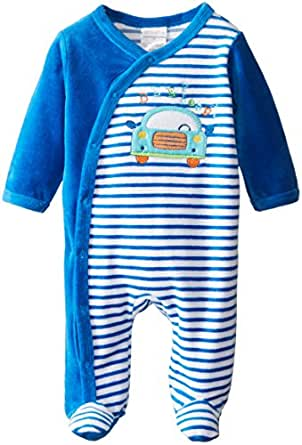 ABSORBA Baby Boys Newborn Car Velour Footie Blue 3 6