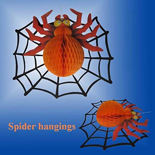 Tojoy Halloween Decorations Halloween Decorations Props Bar Funny Spider Pendant Ornaments Paper Lanterns (5Pcs) front-544417