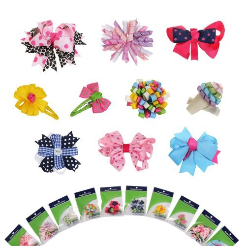 New Born, Bebe, Baby, Child Bundle Monster 10pc Girl Baby Toddler Ribbon Bows Mixed Design Hair Clip Barette     Bundle Monster