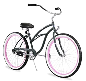 "Beach Cruiser Bicycle Woman 26"" Firmstrong Urban Lady single speed (1sp) - army green w/ pink"