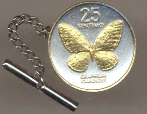 Gorgeous 2-Toned Gold on Silver World Coin Tie-Tack-125TT