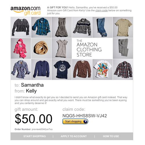 Amazon Gift Card - E-mail - Amazon Clothing Store