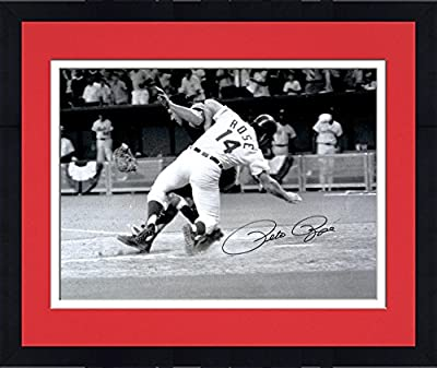 "Framed Pete Rose Cincinnati Reds Autographed 16"" x 20"" Collision with Catcher Photograph - Fanatics Authentic Certified"