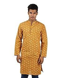 New Cotton Shirt Mustard Yellow Stylish Kurta Hand Block Printed XL Long shirt Floral Men's kurta By Rajrang