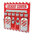 "Accuform Signs KST814 STOPOUT Lockout Store-Board with Kit, 6-Padlock, 14"" Length x 14"" Width, Aluminum, Includes 6 Steel Padlocks with 3/4"" Shackle, 10 HS-Laminate Lockout Tags, 10 Plastic Ties, 1 Scissor Hasp with 1"" Opening, 1 Scissor Hasp with 1-1/2"" Opening"