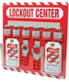 """Accuform Signs KST814 STOPOUT Lockout Store-Board with Kit, 6-Padlock, 14"""" Length x 14"""" Width, Aluminum, Includes 6 Steel Padlocks with 3/4"""" Shackle, 10 HS-Laminate Lockout Tags, 10 Plastic Ties, 1 Scissor Hasp with 1"""" Opening, 1 Scissor Hasp with 1-1/2"""" Opening"""