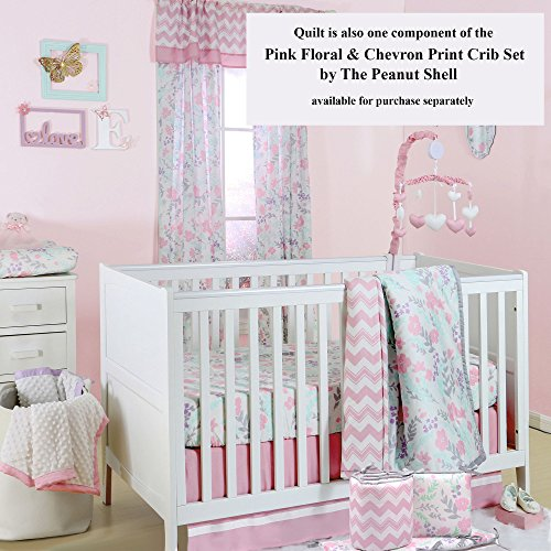 Pink And Mint Green Floral Print Padded Crib Rail Guard By
