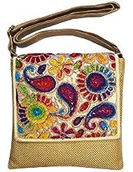 Vardhini Jute Sling Bag With Rainbow Flap (Dark Gold)