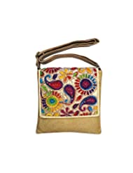 Bhamini Jute Sling Bag With Rainbow Flap (Dark Gold)