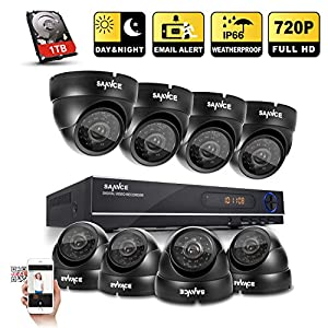 [720P HD] Sannce 8CH 1080N DVR 1080P NVR Hybrid Recorder+ 4x HD 1280x720 Outdoor Security DomeCameras w/ 1TB Pre-installed Hard Drive (1.0 Mega-Pixels, P2P Technology, Motion Detection & Alarm Push, Weather-Proof Body, Night Vision)
