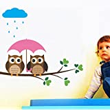 Decals Design 'Two Owls In The Rain' Wall Sticker (PVC Vinyl, 60 Cm X 45 Cm)