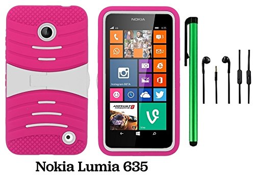 Premium Ucase With Kickstand Cover Case For Nokia Lumia 635 (Us Carrier: T-Mobile, Metropcs, And At&T) + 3.5Mm Stereo Earphones + 1 Of New Assorted Color Metal Stylus Touch Screen Pen (Pink / White)