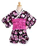 (ハローキティ) Hello Kittyセパレート浴衣ドレス/キュロットタイプ仕上がり帯付【51940701-02】 130cm ブラック