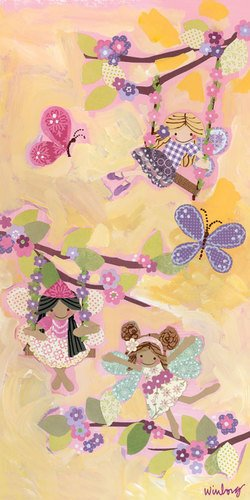 Oopsy Daisy Swinging Fairies Stretched Canvas Wall Art by Winborg Sisters, 12 by 24-Inch