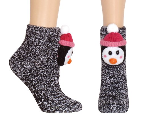 Cheap Capelli New York Adorable Penguin 3D Head Marled Slipper Sock With Grippers (B009H5POFU)