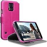 Terrapin Leder Tasche Case Hülle im Bookstyle mit Standfunktion Kartenfächer für Samsung Galaxy S5 (Pink)