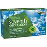 Seventh Generation Fabric Softener Sheets, Free and Clear, 80 Count