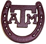 Maroon Cast Iron Texas A & M Horseshoe Lucky Horse Shoe. Gig Em Aggies A and M