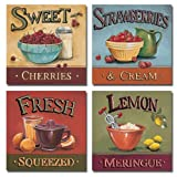 4 Refreshing Fruit Kitchen Art Prints Sweet Cherries Strawberries Lemons 30x30 cm