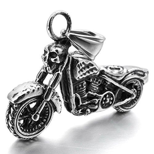 MunkiMix Acciaio Inossidabile Pendente Ciondolo Collana Argento Cranio Teschio Motociclo Motocicletta Moto Biker Uomo ,catenina lunga 58 cm inclusa