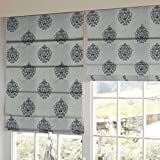 Presto Bazaar Black Abstract Tissue Embroidered Window Blind (72 Inch X 44 Inch)