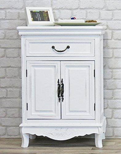 Kommode Elegance 2-turig und Schublade weiß - Sideboard Anrichte Flurschrank Landhausstil Shabby Chic