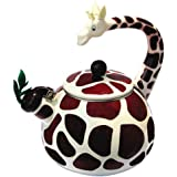 Animal Kettle 2.4 Quart Whistling Enamel On Steel Giraffe Tea Kettle