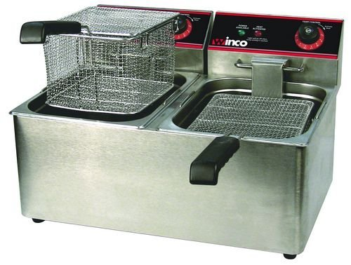 Winco Eft-32 Countertop Comm. Deep Fryer, Twin Well W/ Lid, 32 Lbs Oil Capacity