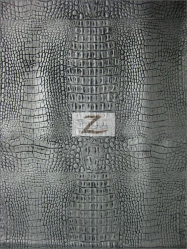 """ALLIGATOR EMBOSSED VINYL FAUX LEATHER PLEATHER FABRIC - Silver/Black Undertone - 54"""" WIDTH SOLD BY THE YARD"""