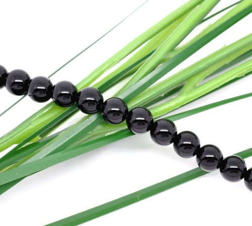 50 X BLACK AGATE ONYX ROUND BEADS 6 MM