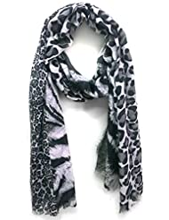 Scarfking Scarfking 3 Panel Animal Print Stolepale Blue