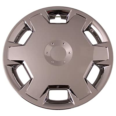 Set of 4 Chrome 15 Inch Universal (Replica of Nissan Cube/Versa Hubcaps) Wheel Covers with Clip Retention - Aftermarket: IWC447/15C