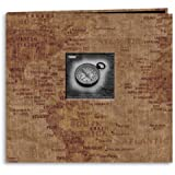 Pioneer 12 Inch by 12 Inch Postbound Travel Frame Cover Memory Book, World Map