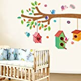 UberLyfe Birds House Tree Wall Sticker (Wall Covering Area: 100cm x 102cm)
