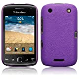 BLACKBERRY CURVE 9380 PURPLE TEXTURED PU LEATHER BACK COVER CASE / SHELL / SHIELD PART OF THE QUBITS ACCESSORIES RANGE