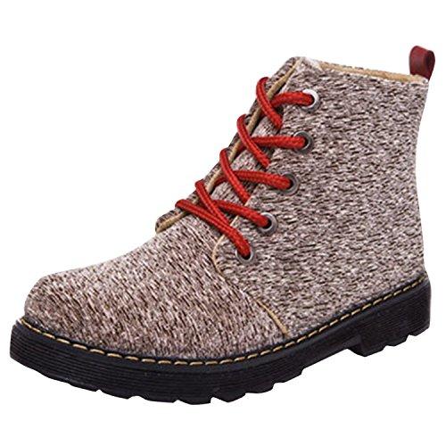 Oasap Femme Casual Boots A Cheville A Lacet Talons Bas Canevas