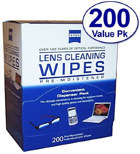 Zeiss Pre-Moistened Lens Cloths Wipes 200Ct(2 Packs)