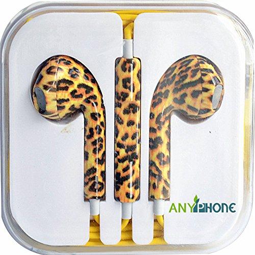 Anyphone- For Iphone4 5 Ipad3 4 Ipod Headphone Headset Earphone Earbud Volume Remote+Mic Colorful Animal Stripes (6 Leopard Stripe)