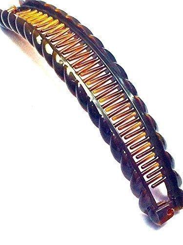 Allaccessories - Fermaglio, pinza per capelli a banana, motivo tartarugato, modello grande, marrone