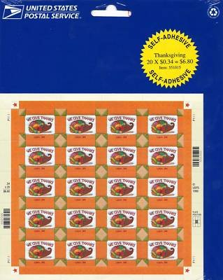Thanksgiving 20 x 34 Cent US Stamps Scot 3546 NEW 1999
