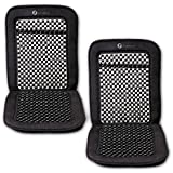 Zone Tech Double Strung Wooden Beaded Ultra Comfort Massaging Car Seat Cushion - Set Of 2 Classic Black Premium...