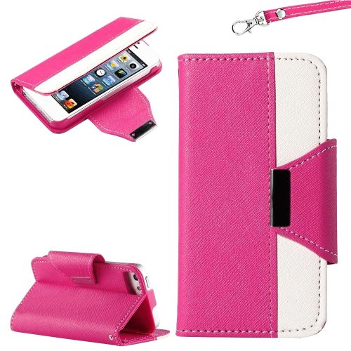 Mylife (Tm) Rose Pink And White Style Design - Textured Koskin Faux Leather (Card And Id Holder + Magnetic Detachable Closing) Slim Wallet For Iphone 5/5S (5G) 5Th Generation Itouch Smartphone By Apple (External Rugged Synthetic Leather With Magnetic Clip